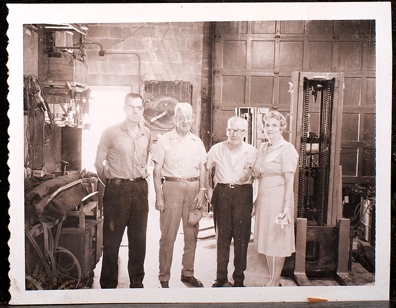 Johnson family inside the industrial repair shop (1964)
